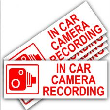 5 x Small In Car Camera Recording Stickers-87mmx30mm-Red On White-CCTV Sign-Van,Lorry,Truck,Taxi,Bus,Mini Cab,Minicab